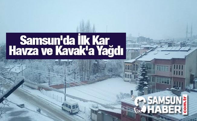 Samsun'da İlk Kar Havza ve Kavak'a Yağdı