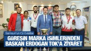 Samsun'un Marka Güreşçileri Başkan Tok'u Ziyaret Etti